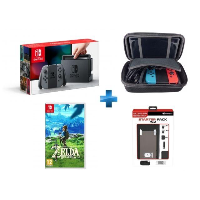 NINTENDO - Switch avec paire de Joy-Con grise + The Legend of Zelda : Breath of the Wild + malette de rangement + pack d'accessoires 7 en 1