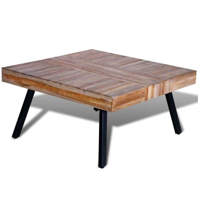 Vidaxl Table basse carrée Bois de teck de récupération