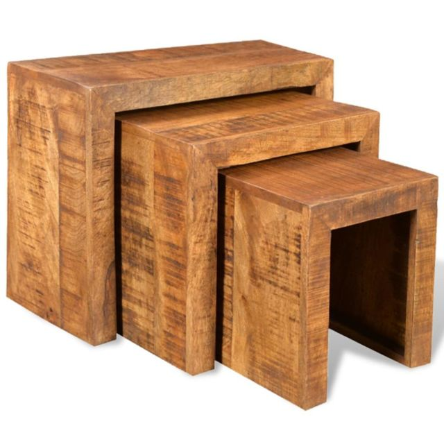 Magnifique Consoles gamme Tallinn Table gigogne 3 pcs Bois massif de manguier