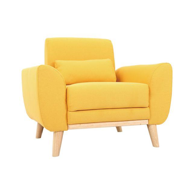 Miliboo Fauteuil design tissu jaune et pieds chêne Ektor
