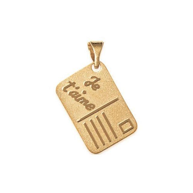 No Name - Pendentif plaqué Or Médaille Carte Postale 18x12mm Message Je T'Aime