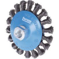 Forum - Brosse conique, fil d'acier trempé, torsadé, Ø de la brosse : 115 mm, Epaisseur du fil 0,50 mm, Larg. : de travail 15 mm, Vitesse maxi. : 12500 tr/mn