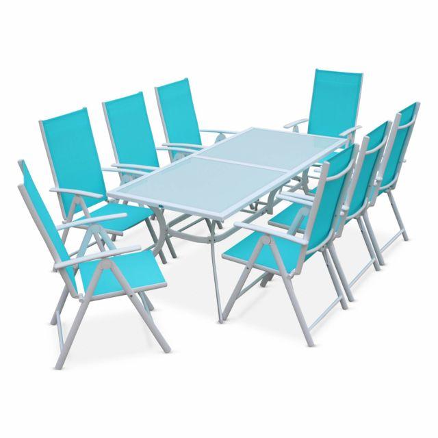 Salon de jardin en aluminium et textilène - Naevia - Blanc, Turquoise - 8  fauteuils pliables