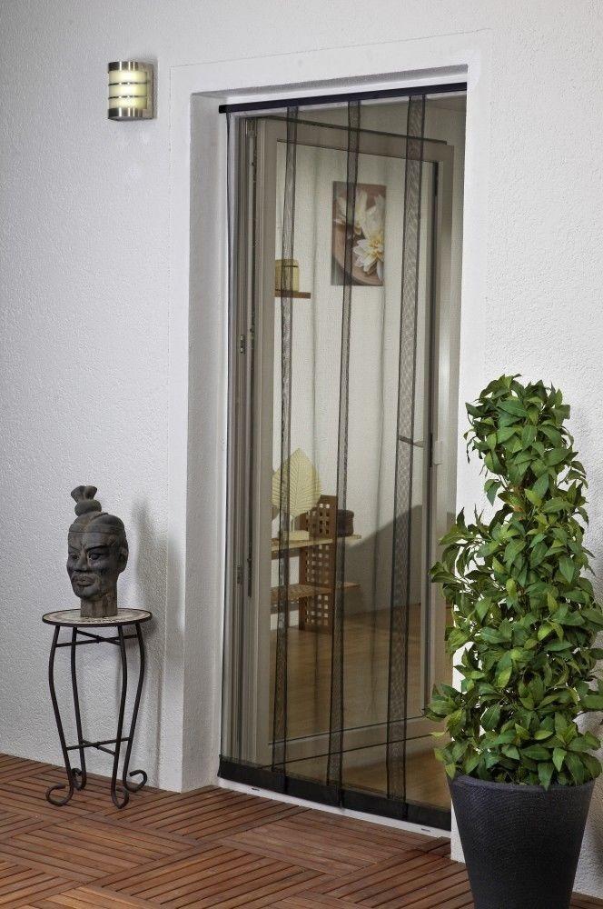 Moustiquaire Rideau 4 Lamelles avec Poids - Polyester - L100 x H220 cm Couleur:Noir