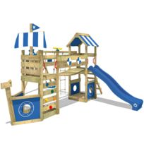 Wickey - Aire de jeux en bois Stormflyer Tour de jeux en bois avec balançoire et toboggan bleu