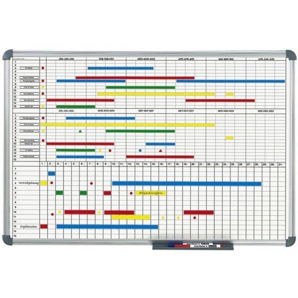 hebel planning mensuel et annuel tableau blanc 2 parties 90 x 60 cm - Planning Travaux Maison Individuelle