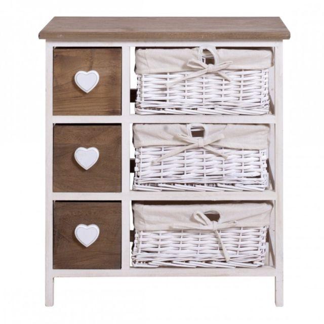 mobili rebecca commode meuble de rangement 6 tiroirs paris bois osier blanc marron coeur. Black Bedroom Furniture Sets. Home Design Ideas