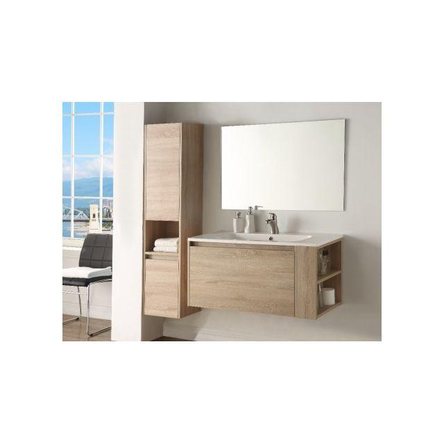 Marque generique ensemble behati meubles de salle de bain effet bois naturel pas cher for Marque meuble salle de bain