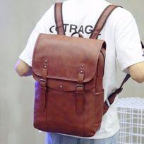 dfb83549bf Wewoo - Sac à dos à bandoulière en cuir Pu de couleur unie à double épaule