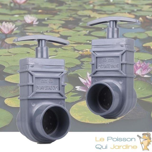 Le Poisson Qui Jardine Lot de 2 vannes guillotines Pvc 40 mm pour bassin de jardin et étang