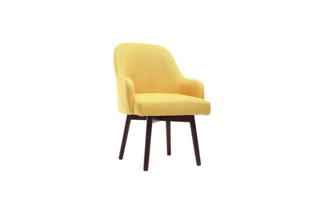Miliboo - Fauteuil design jaune pieds bois foncé Mona