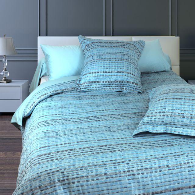 linnea parure de lit 280x240 cm satin de coton louvre bleu clair 240cm x 280cm pas cher. Black Bedroom Furniture Sets. Home Design Ideas