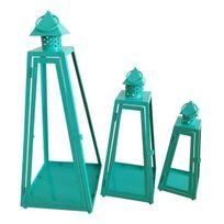 Aucune - Homea Set de 3 lanternes pyramide en métal H30-40-55cm turquoise