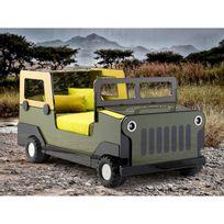 Marque Generique - Lit 4x4 militaire 90x190cm bois laqué vert/jaune + roue en polypropylène Joe