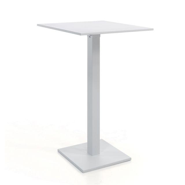 Gecko jardin table haute pliante carr e 70 cm alu blanc - Table haute pliante rectangulaire ...