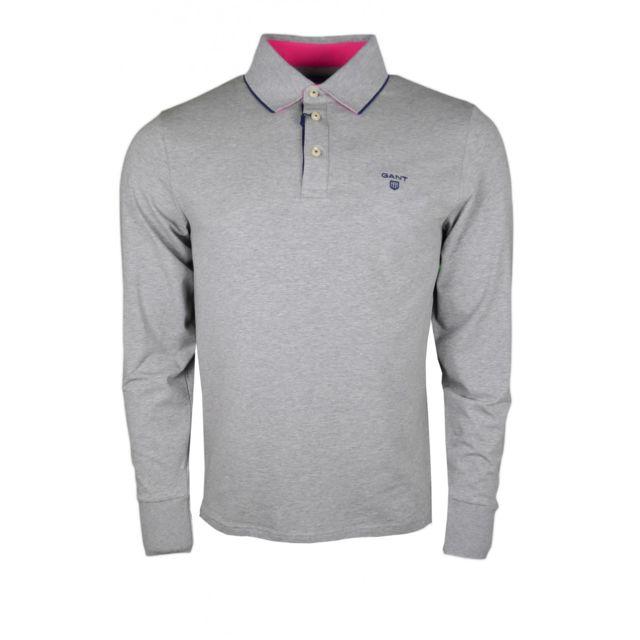 Gant - Polo manches longues en jersey gris pour homme - pas cher Achat    Vente Polo homme - RueDuCommerce 0695f0e6315