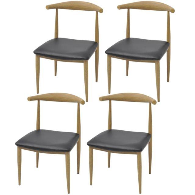 Inedit Fauteuils ligne Beyrouth Chaises de salle à manger 4 pièces Noir