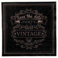 1001DECOTABLE - 20 Serviettes en papier Vintage coloris noir et kraft