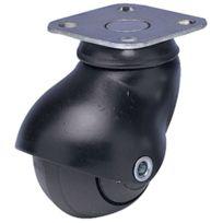 Guitel - Roulette Tono Chrome Pour Appareils Sur Tapis - Type:Platine - Finition:Noir - Ø roue mm:40 - Charge kg:40