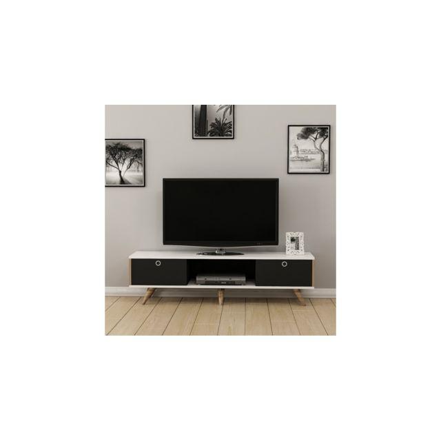 Homemania Meuble Tv Zeyn Moderne - avec Portes, Étagères - pour Salon - Noyer, Noir, Blanc en Bois, 150 x 35 x 41 cm