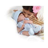 Berenguer - All-Vinyl La Newborn with Brown Hair in Blue Knit Outfit Real Boy