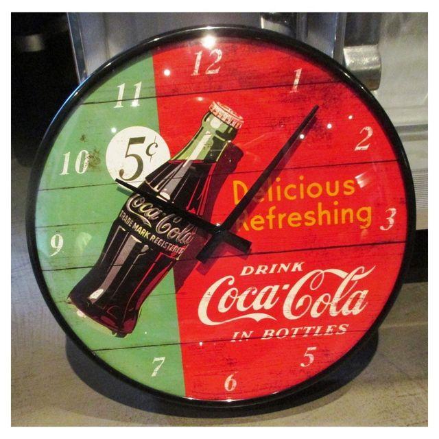 Universel Pendule metal ronde coca cola rouge et verte horloge cuisine