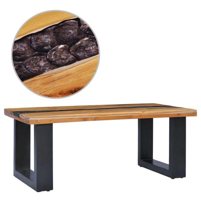 Vidaxl Bois de Teck Massif Table Basse Polyrésine Table d'Appoint Salon Canapé