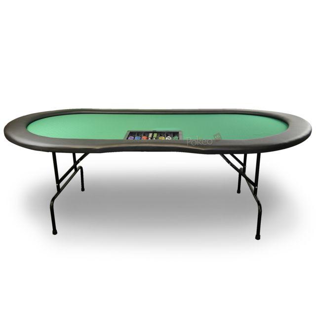 Pokeo Table de Poker 10 joueurs avec emplacement Dealer vert