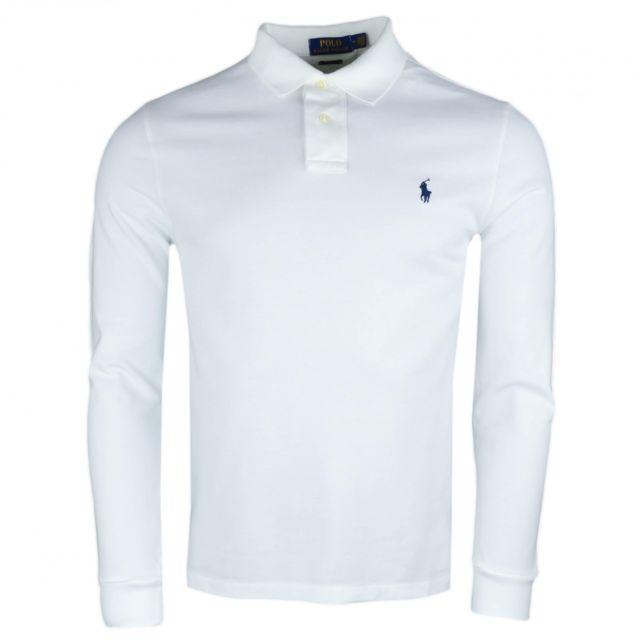 ae2ce0475f2 Ralph Lauren - Polo manches longues blanc pour homme - pas cher ...