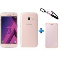 Samsung - Galaxy A3 2017 Rose + Perche selfie rose SSF61U + Neon Flip Cover Galaxy A3 2017 - Rose