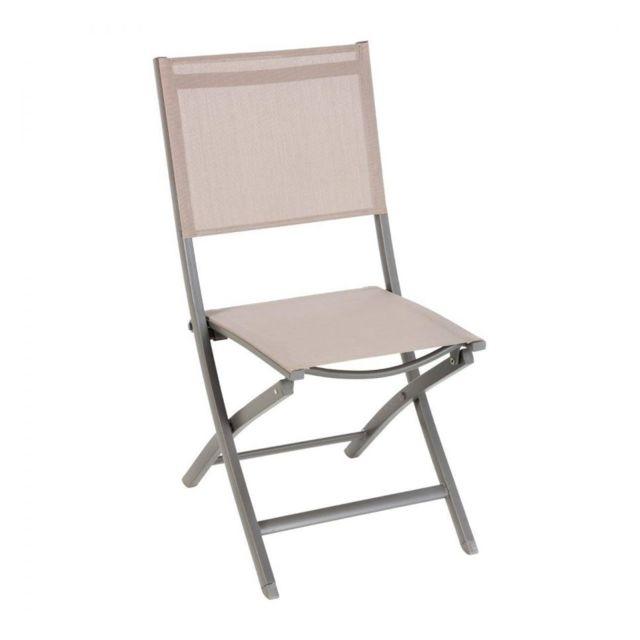Chaise de jardin Essentia coloris taupe/mastic Hespéride
