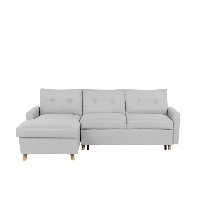 BELIANI Canapé d'angle à droite en tissu gris clair FLAKK - gris