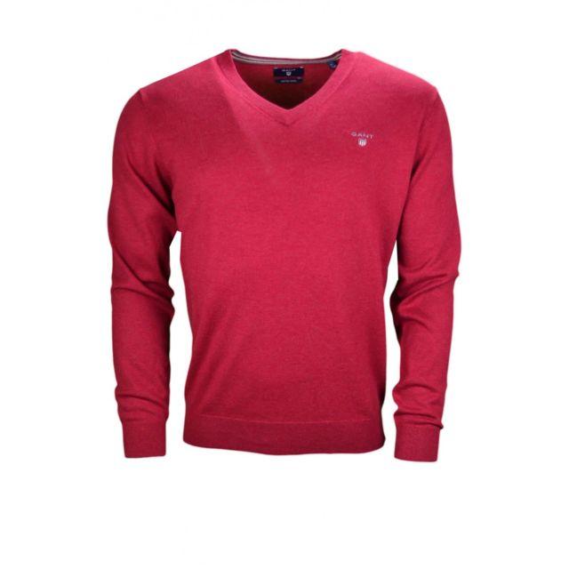 92e32ac6231e Gant - Pull col V rouge pour homme - pas cher Achat   Vente Pull homme -  RueDuCommerce
