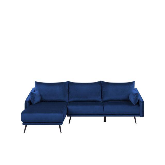 BELIANI Canapé angle à droite en velours bleu VARDE - bleu marine