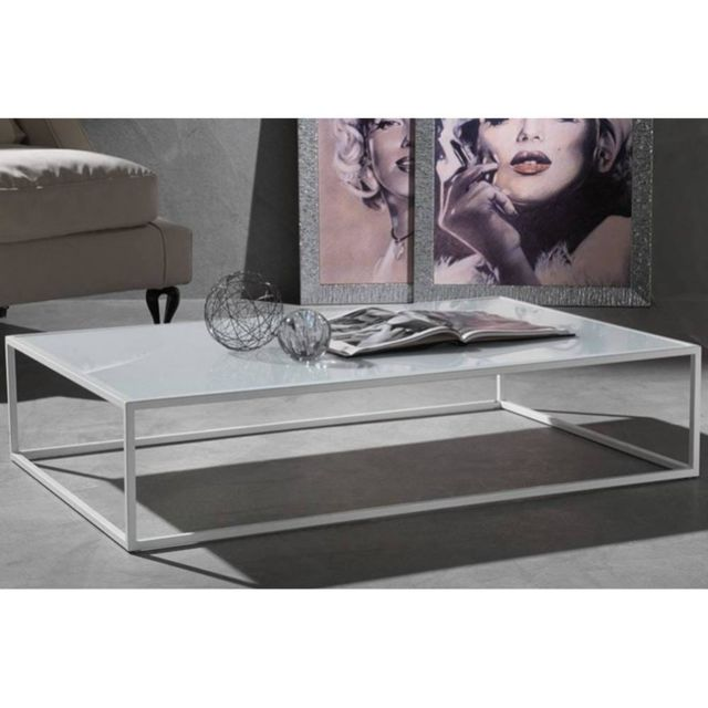 Inside 75 Table basse Poliedro design en verre extra blanc