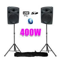 "Ibiza - Enceintes amplifiées 8"" 20cm 400W Usb/SD/BT+ pieds"