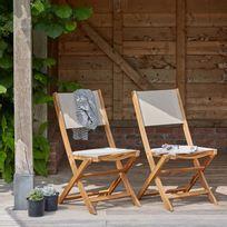 Lot de 2 chaises pliantes en bois d\'acacia FSC et textilène