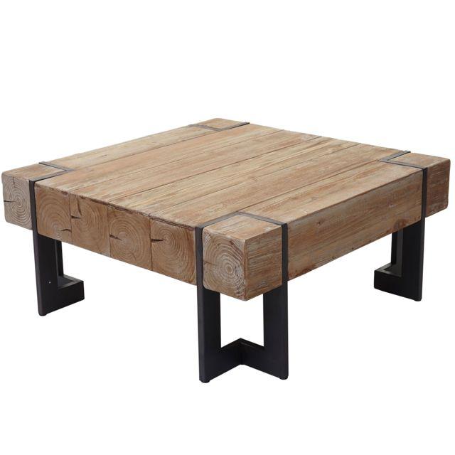 Table Basse De Salon Hwc A15 Sapin Massif Rustique 40x90x90cm