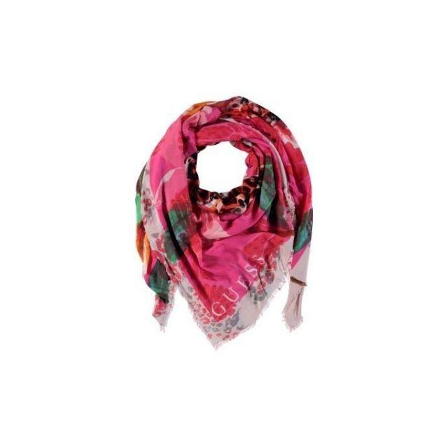 02a4543c9f3f Guess - Foulard Femme Imprimé Fantaisie Rose - pas cher Achat ...