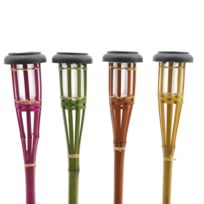 Lumineo - 4 Torches Bambou Solaire Assorties
