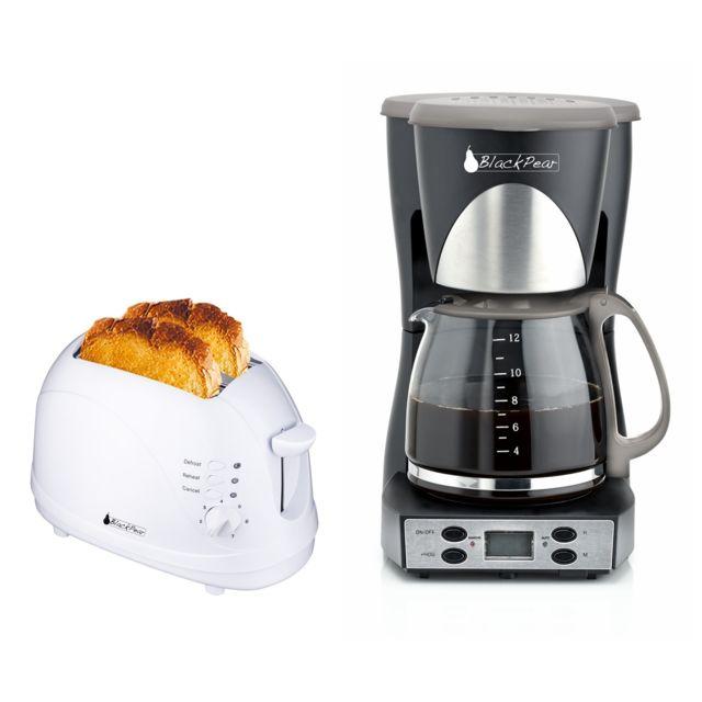 Blackpear Cafetière programmable 12 tasses + Grille pain 2 fentes blanc 700W fonction décongélation