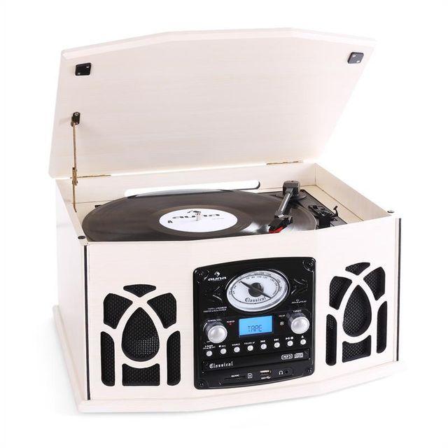 AUNA NR-620 Chaîne stéréo platine enregistrement MP3 -en bois beige