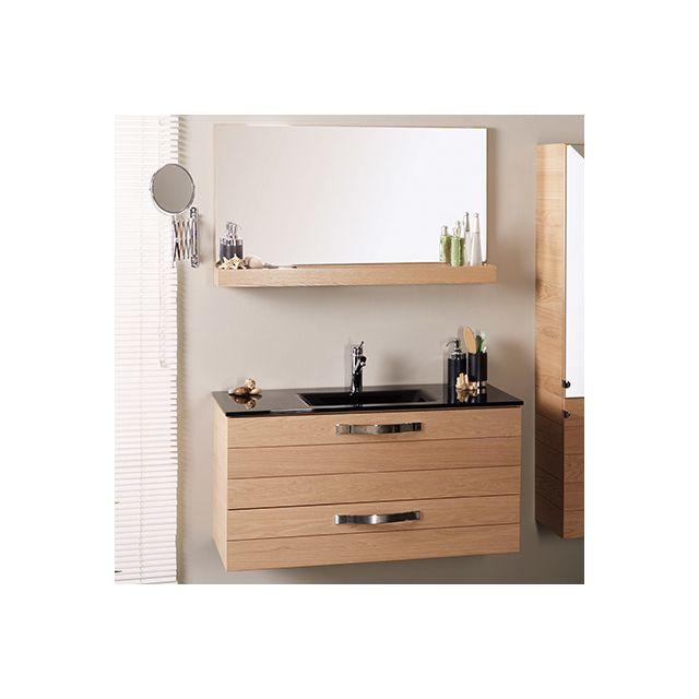 Ensemble miroir+meuble avec vasque intégrée noire - largeur 100cm