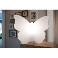 Techneb - Figurine lumineuse Papillon intérieur extérieur blanc