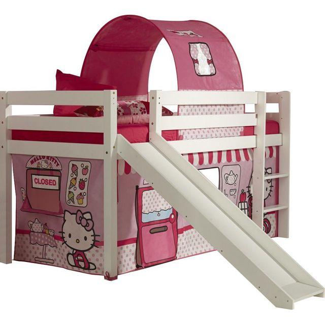 comforium lit sur lev 90x200 avec toboggan et tente de jeu hello kitty pas cher achat. Black Bedroom Furniture Sets. Home Design Ideas