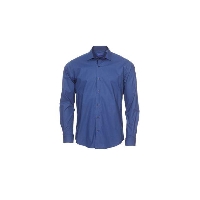 Meadrine Chemise Homme Imprime minimaliste bleu nuit et bleu oppositions bleues marine coupe slim fit