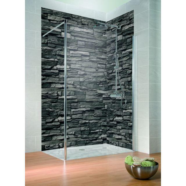 schulte lot de 2 panneaux muraux de douche 100 x 210 cm panneaux de revtement pour salle de bains dcodesign dcor parement ardoise pas cher achat