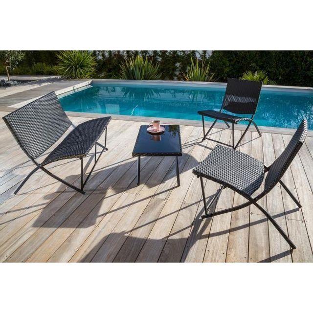 Loungitude - Salon de jardin 1 table basse + 1 fauteuil double + 2 ...