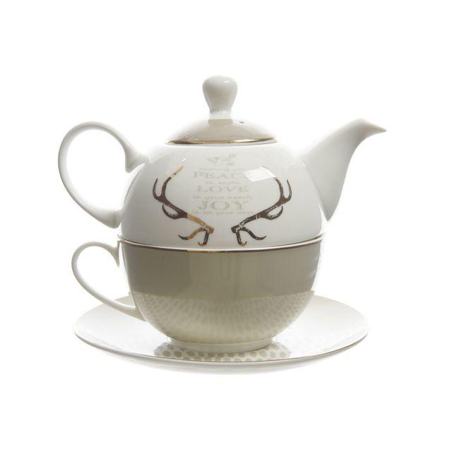 Decoris - Set tasse et théière en porcelaine bicolore à motif Grand Cafe - Bois cerf