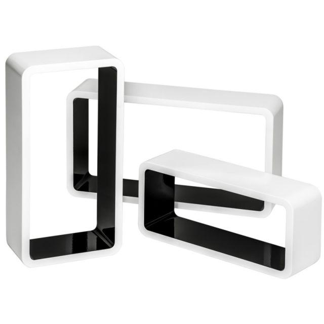 Autre Lot de 3 étagères murales design pour livres/décoration blanc et noir 2708014